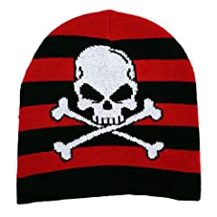 Black and red striped acrylic beanie. Flat knit beanie with white printed skull and crossbones graphics.