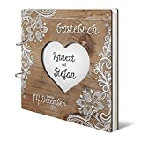Hochzeit Gästebuch personalisiertes lasergeschnittenes Holzcover - Rustikal - 215 x