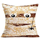 Fukeen Happy Halloween Pillow Covers Vintage Pumpkin Mummy Wrapped in Bandages Throw Pillow Cases Holiday Festival Home Party Decor Ghost Spider Decorative Pillowcase Cotton Linen 18x18 Inch