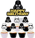 25 Darth Vader Cake Topper Cupcake Toppers Cake Decorations Set for Star Wars Birthday Party Supplies Decorations