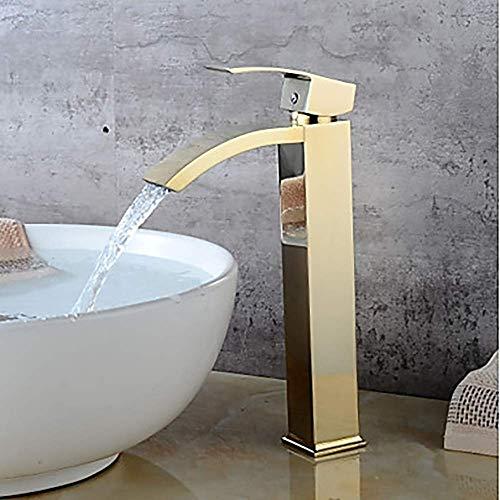 DJY-JY Grifo moderno del fregadero del cuarto de baño del hotel del oro - cascada una manija un grifo hermoso y durable grifo de la cocina