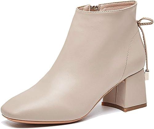 HBDLH Chaussures pour Femmes Femmes Moyennes Talons Talon Haut 5 Cm épaisse Rétro-Martin Bottes Style Anglais Wild Style.  prix raisonnable