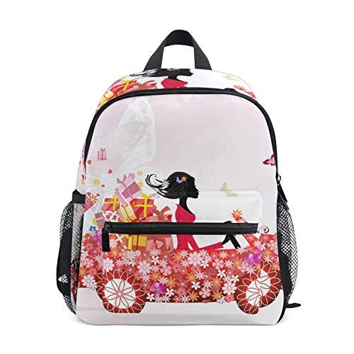 Rucksack für Jungen und Mädchen Mini Rucksack Reisetasche mit Brustclip Mädchen Blumenauto Blumengeschenk