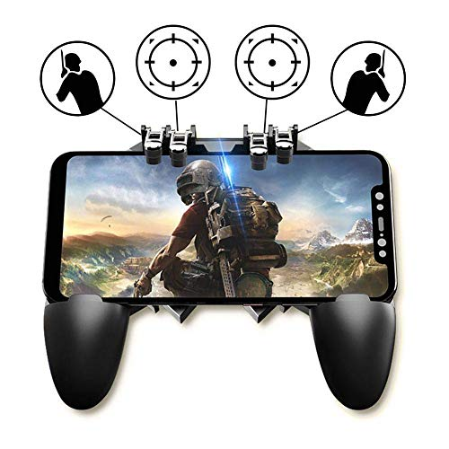 NOYMI Pubg Trigger Controller,Mobile Gamepad - 6 Finger Pubg Game Assistant with 4 Highly Sensitive Triggers,Left and RightTilt Probe,Fast Shooting(Black-1)