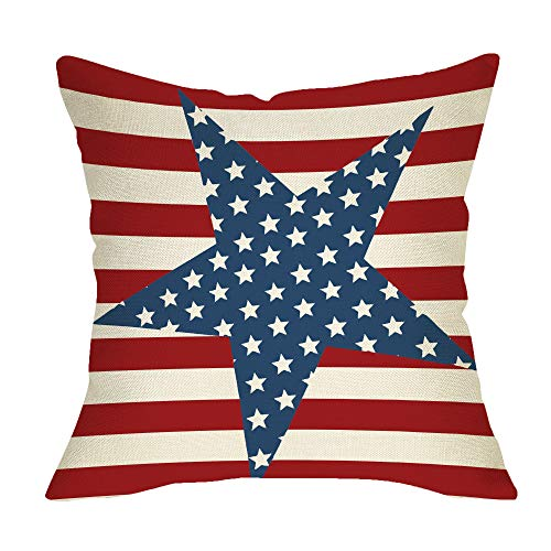 Fbcoo July 4th Patriotic Farmhouse Decorative Throw Pillow Case Vintage American Flag Decoration...