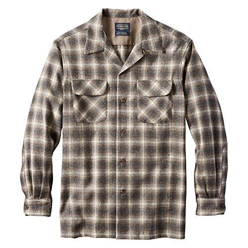 Pendleton, Men's Long Sleeve Classic-fit Board Shirt, Brown Mix/Ivory Ombre, Small
