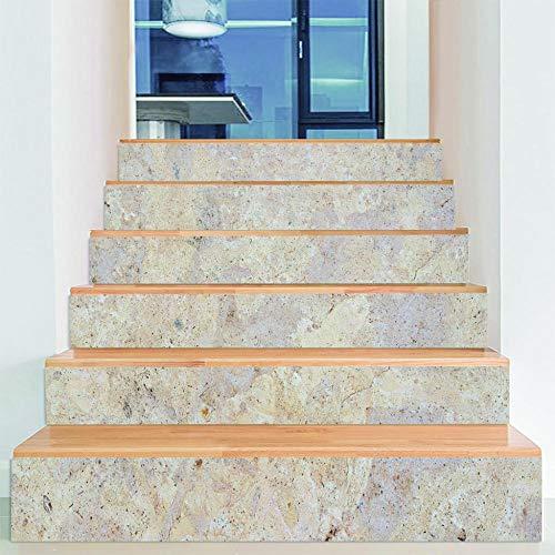 ZXFMTQ Calcomanía De Escalera 3D Calcomanías De Arte De Escalera De Mármol Para La Decoración De La Habitación Del Hogar Decoración De Piedra Para El Hogar Pegatina De Escalera Creativa Medidor Blanco