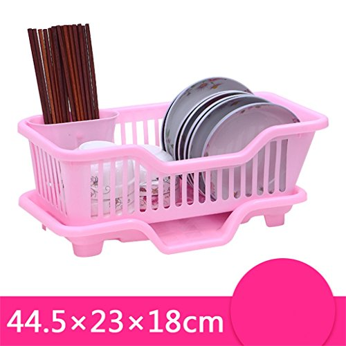 Étagère de cuisine pratique multifonction Étagère de bol Étagère de bol Étuve en plastique à une seule goutte CHUFZWJ- Kitchen Storage rack and Shelf (Couleur : Rose, taille : A)