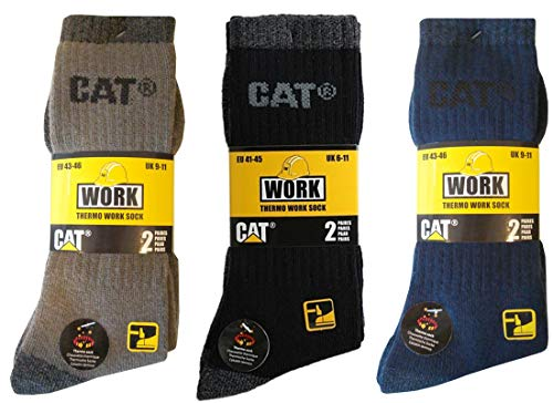 Caterpillar CAT Herren Thermosocken-Arbeitssocken in 41-45, wahlweise 4 6 8 Paar in Schwarz oder Schwarz/Anthrazit-Mix (41-45, 4 Paar Braun+4 Paar Schwarz/Anthrazit)