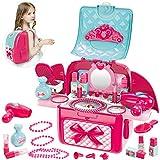 Buyger 2 in 1 Rollenspiel Spielzeug Schminke Kinder Mädchen Schminkset Kinderfön Schminkkoffer Rucksack Kinderschminke Set für Prinzessin ab 3 Jahre