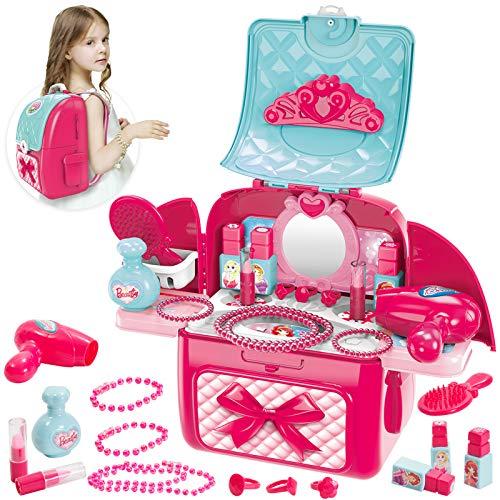 Buyger 2 in 1 Kinder Schminke Rollenspiel Spielzeug für Mädchen, Schminkset Kinderfön Schminkkoffer für Prinzessin ab 3 Jahre, Rucksack
