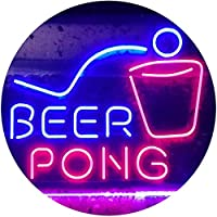 Beer Pong Bar Game Pub Dual Color LED看板 ネオンプレート サイン 標識 赤色 + 青色 400 x 300mm st6s43-i3495-rb