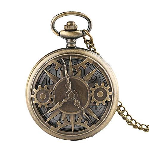 J-Love Reloj Bolsillo Retro, Exquisito diseño Rueda Engranaje, Hombres y Mujeres, Reloj Bolsillo Cuarzo, Reloj Vintage, Mejores Regalos
