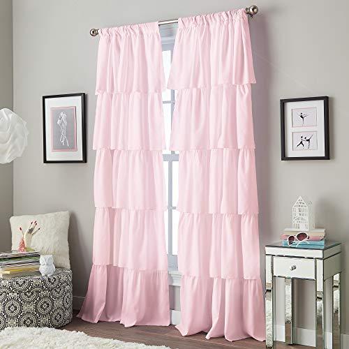Curtainworks Flounced Ruffle Rod Pocket Curtain Panel, 63-inch, Pink