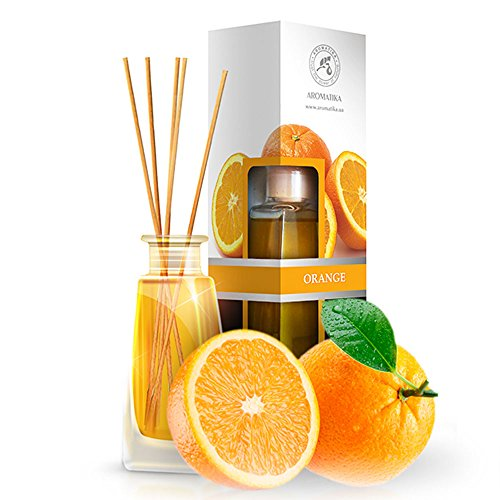 Orange Diffuser w/Orange Oil 3.4oz - Fresh Room - Long Lasting Fragrance - Scented Reed Diffuser Orange - Diffuser Gift Set - Best for Aromatherapy - Home - Orange Essential Oil Diffuser by AROMATIKA