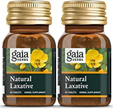 Gaia Herbs Natural Laxative Tablets, 90 Count (Pack of 2) - Support for Constipation, Minimizes Intestinal Gas