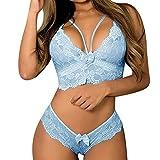 YSpoe Damen Dessous Korsett Spitze Push Up BH Unterwäsche Tanga Plus Size Short Tops mit niedriger Taille Brief Baby Dolls Nachthemd(Blau,XXXL)