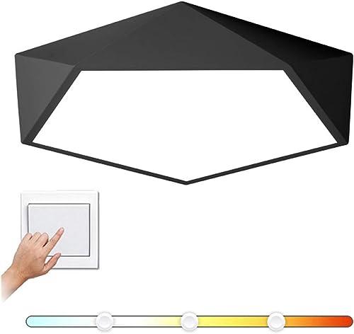 CCSUN LED 18w Moderne Lampe plafond Créatif, Acrylique Noir Plafond à proximité Dimmable 1170-1350lm 11.8 in Pour Couloir Chambre à coucher Salon-noir 3 modes
