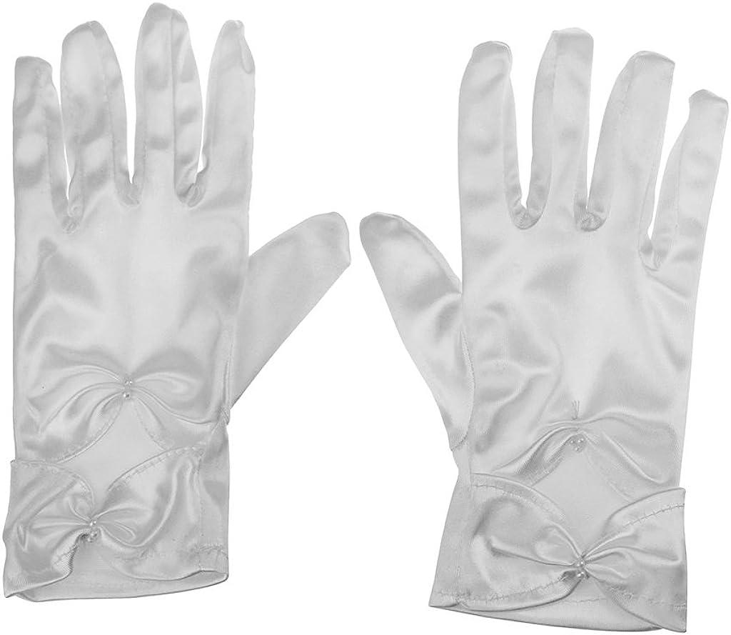 Girls Wedding Pageant Party Full Length Satin Bowknot Dress Formal Wrist Gloves White (White S)
