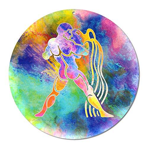 Sternzeichen Wassermann Nr. 01. Ø 20cm Glasbild Aufhänger Fensterbild bruchsicheres Acrylglas Sonnenfänger Astrologie Blickfang Geschenk Dekoration Fenster - EINWEG Verpackung -