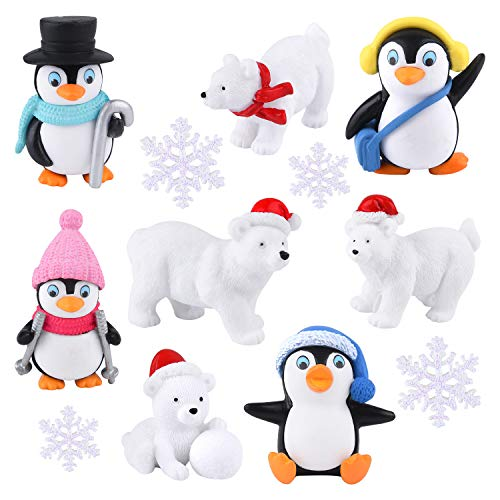FEPITO 12 Pcs Winter Resin Penguin Polar Bear Snowflakes Miniature Figurine Toy Mini Christmas Figures for DIY Garden Home Decor Christmas Ornaments