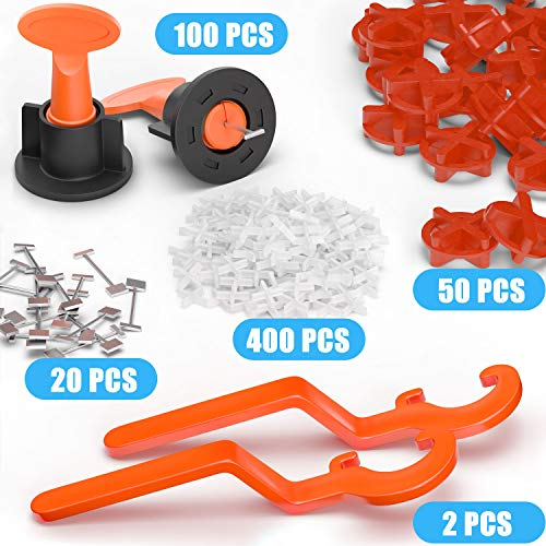 YEFU New Tile Leveling System Kit Reusable, Replaceable Pins, Smooth Rotation, with 100pcs Tile Leveler Spacer, 50pcs Round Cross & 400pcs 1/12 Tile Spacers, 2pcs Wrench and 20pcs 1/16 Spare Steel Pin