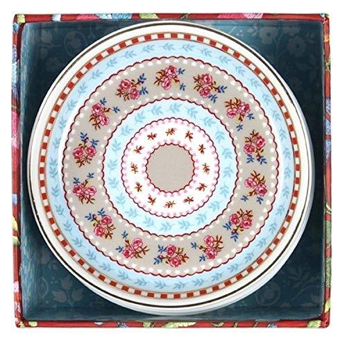 Pip Studio Home 10,2 cm de diamètre, Lot de 4 Kaki Floral Thé Pointe