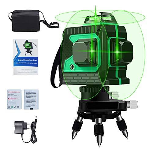 Nivel láser de líneas cruzadas verde 3D 12, línea láser 3x360 grados, cruz horizontal...