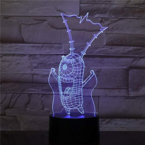 jiushixw 3D acryl nachtlampje met afstandsbediening kleurverandering lamp animatie handgemaakte worst afbeelding katje tafellamp teak