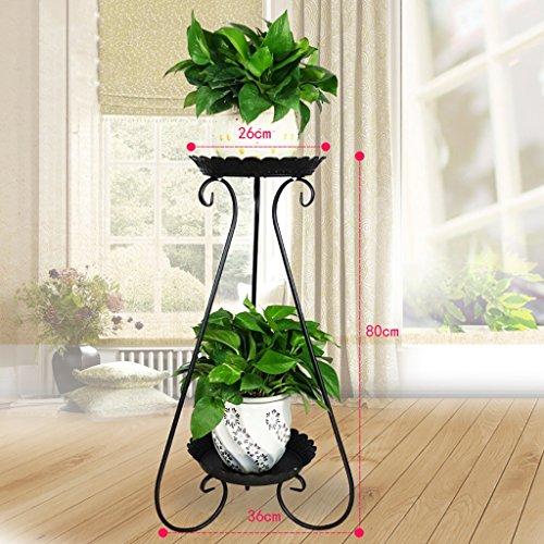 balcon voyantes Grilles de fleur de fer à plusieurs étages grilles vert radis araignée balcon étagère à fleurs viande salon intérieur étage étagère à fleurs Plantes d'extérieur Présentoir ( Couleur : Noir , taille : 36*80cm )