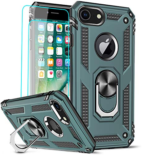 LeYi Compatible for iPhone 8 Case, iPhone 7 Case, iPhone 6s/ 6 Case with [2 Pack] Tempered Glass Screen Protector, Military-Grade Phone Case with Ring Kickstand for iPhone 6/6s/7/8, Midnight Green
