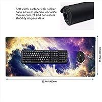 星空 宇宙 神秘 地球 マウスパッド ゲーミングマウスパット デスクマット キーボードパッド 滑り止め 高級感 耐久性が良い デスクマットメ キーボード パッド おしゃれ ゲーム用(90cm*40cm)