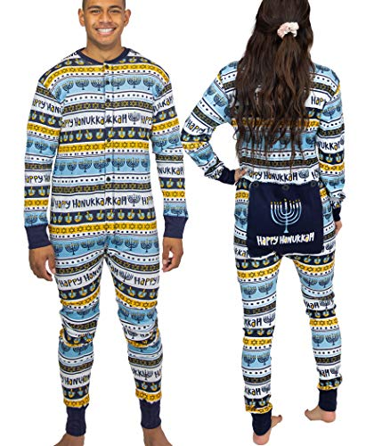 LazyOne Flapjack, Matching One-Piece Pajamas with Drop Seat, Adult XS–XXL (Hanukkah, Medium)