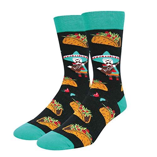 Zmart Men's Taco Socks Funny Crazy Cool Mexican Food Crew Socks in Black Gift