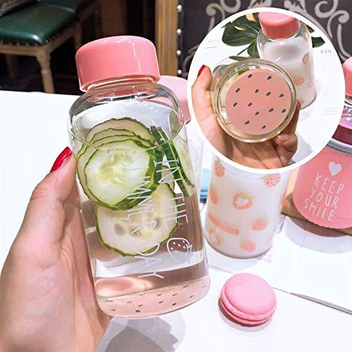 Wasserflasche Kawaii Erdbeere Wasserflasche Karikatur-netter transparenter Glas-Schale mit schützendem Fall Trinkflasche for Mädchen-Studenten-Geschenke (Capacity : 301 400ml, Color : Yellow)