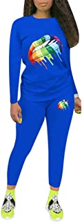 Sweatsuits for Women Fall Outfit - Long Sleeve Tie Dye T-Shirts High Waist Joggers Pants 2 Piece Jumpsuits Set