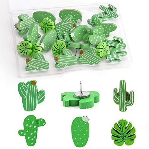 TOYMIS 30-teiliges Dekoratives Kaktus Reißnagel Stecknadeln für Fotowand, Karte, Kordel, Pinnwand, Home-Office-Dekoration