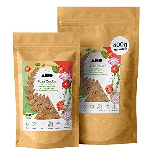 AHO Pizza Cracker aus Bio Urdinkel-Sprossen 400g | Rohkostcracker aus gekeimtem Urgetreide aus deutschem Bio-Anbau | 100% Bio, Vegan, Raw | Plastikfrei verpackt (400g)