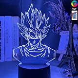 Lámpara De Ilusión 3D Luz De Noche Led Dragon Ball Goku Uper Aiyan Figura Para Niños Decoración De D...