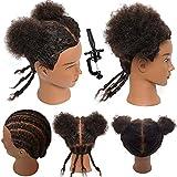 Mannequin Head 100% Human Hair Training Head Afro Hair Manikin Head Manikin Head for Braiding Practice for Hair Styling Salon Training Head Cosmetology Braiding Practice Head Hairdresser(AD-1)