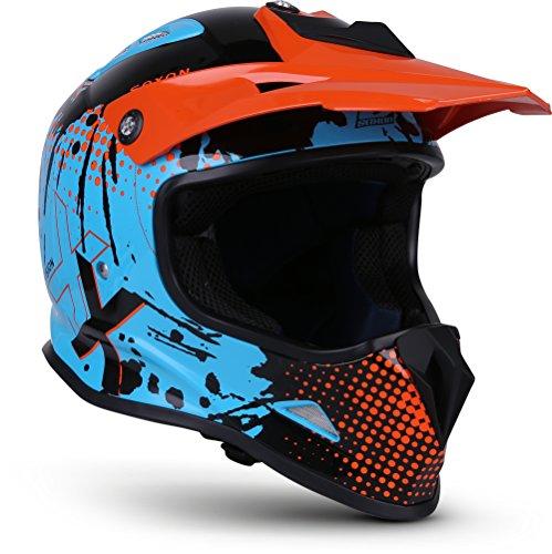 """SOXON® SKC-33 """"Fusion Orange"""" · Kinder Cross-Helm · Motorrad-Helm MX Cross-Helm MTB BMX Cross-Bike Downhill Off-Road Enduro-Helm · ECE 22.05 Schnellverschluss SlimShell Tasche XS (51-52cm)"""