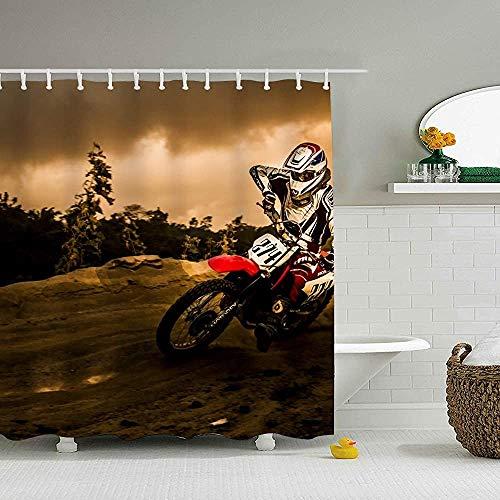 Hotyle Dirt Ike Motocross Cortina de Ducha Creativo Impermeable Baño Cortina de...