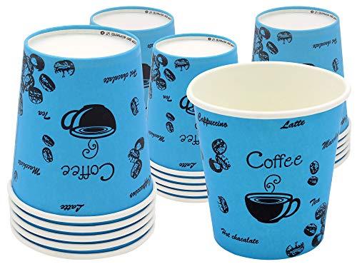 exxens 80Pz Bicchieri Grandi Caffe di Carta Biodegradabili Biocompostabili Tazzine 170ml USA e Getta Colorati Azzurro