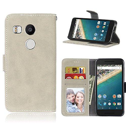 pinlu® Hohe Qualität Retro Scrub PU Leder Etui Schutzhülle Für LG Google Nexus 5X Lederhülle Flip Cover Brieftasche Mit Stand Function Innenschlitzen Design Grau