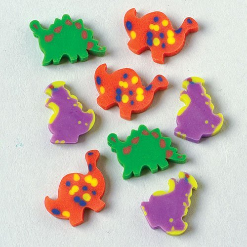 Lot of 144 Assorted Mini Dinosaur Erasers