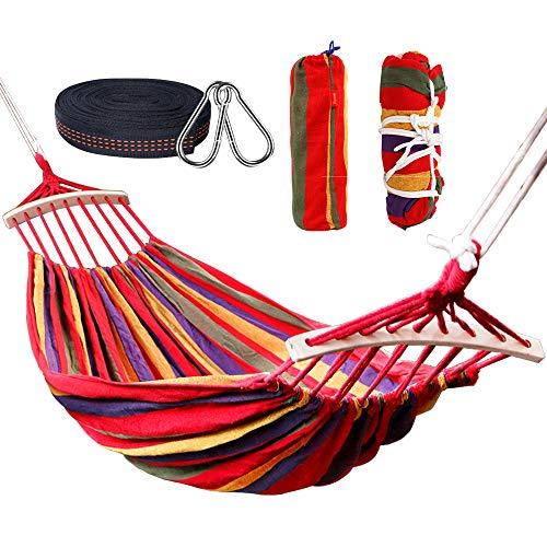 Nakeey Doppel Hängematte, Garten Hängematten Stabhängematte für Indoor Balkon Outdoor Reise Camping Wandern, 300 kg statische Belastbarkeit, 280 x 150 cm Regenbogen (color7)