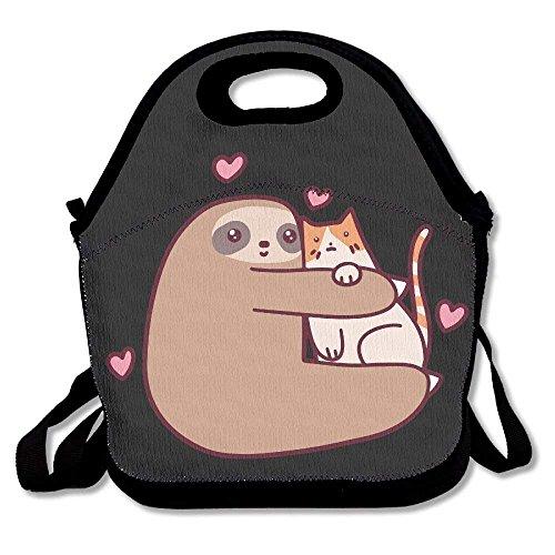 Faultier liebt Katze, isolierte Reise-Picknick-Tasche, Handtasche mit Schultergurt für Damen, Teenager, Mädchen, Kinder, Erwachsene
