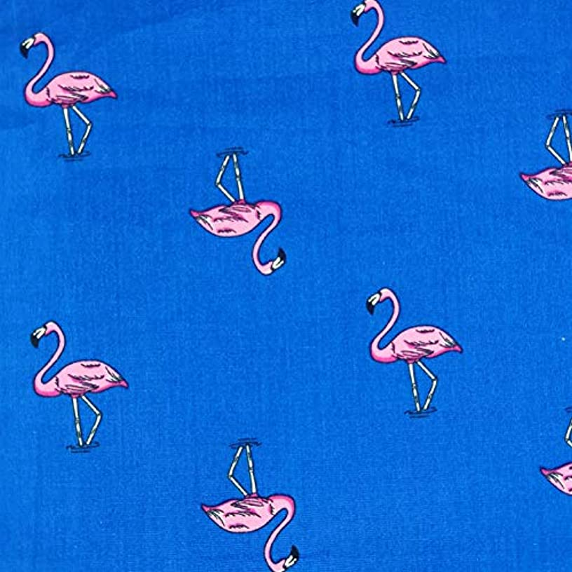Moni's Choice Fabric by The Yard, Pink Flamingo Cotton Print, Decorative Fabric for Upholstery and Home Accents, 1 Yard, Blue and Pink