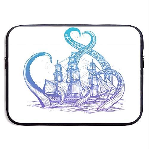 Riesenkrake fängt Alten Stil Segelschiff 13-15 Zoll Laptop Sleeve Bag - Tablet Clutch Tragetasche, wasserdicht, schwarz-15 Zoll