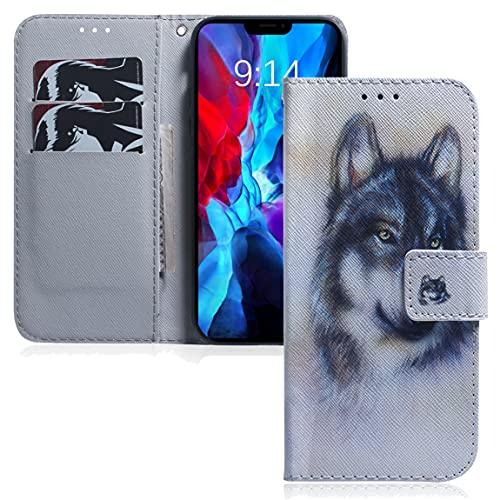 MRSTER Xiaomi Redmi 8A Hülle Leder, Langlebig Leichtes Klassisches Design Flip Wallet Hülle PU-Leder Schutzhülle Brieftasche Handyhülle für Xiaomi Redmi 8A. EF PU- White Wolf